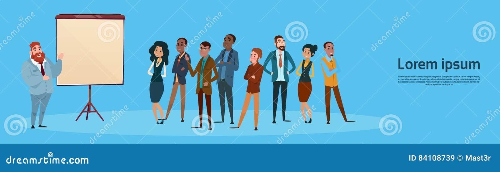 Der Gruppen-Geschäftsleute Darstellungs-Flip Chart, Wirtschaftler Team Training Conference Meeting