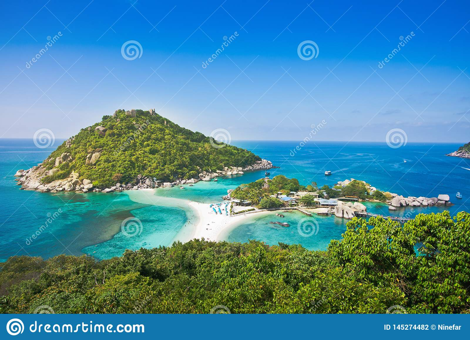 Der höchste Standpunkt von nangyuan Insel am KOH Tao Thailand auf schönem Naturlandschaftshintergrund