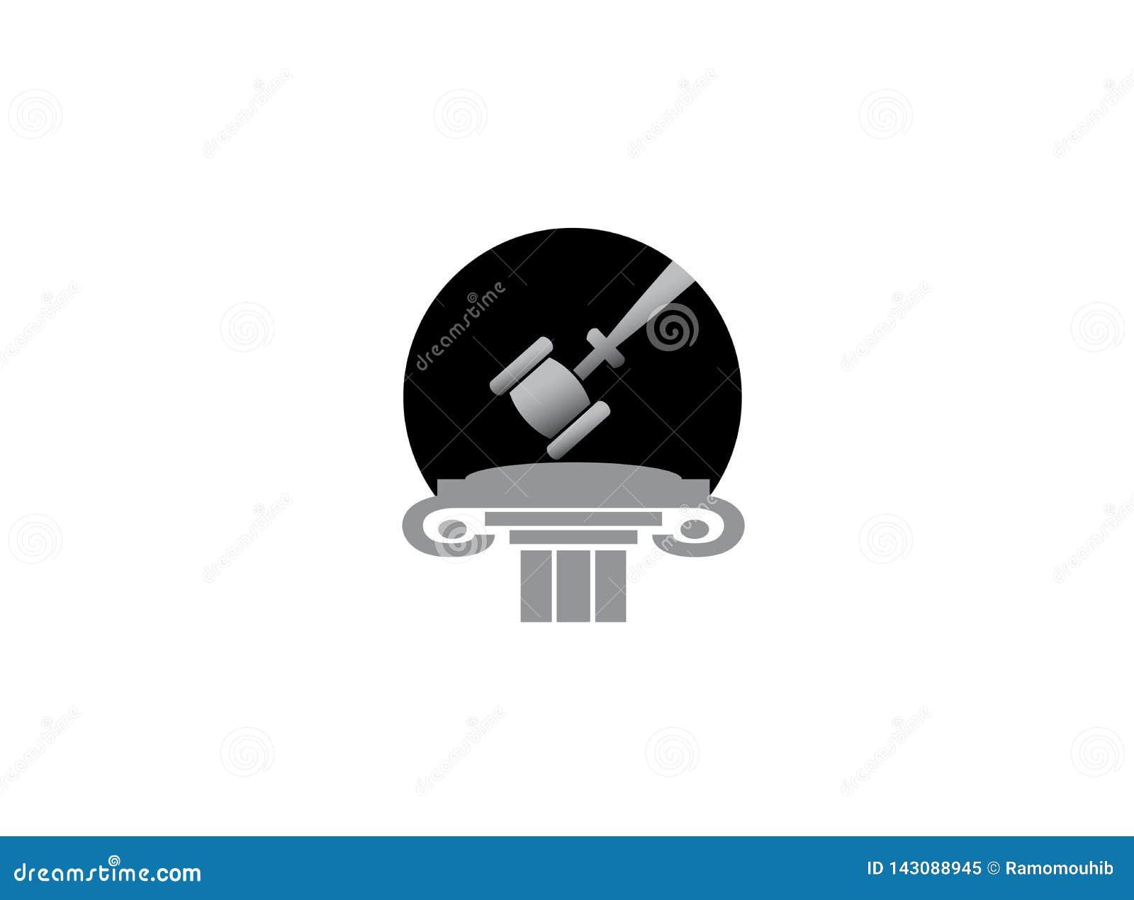 Der Hammer des Rechtsanwalts in einem Gesetzesgerechtigkeitsgebäude für Logoentwurf