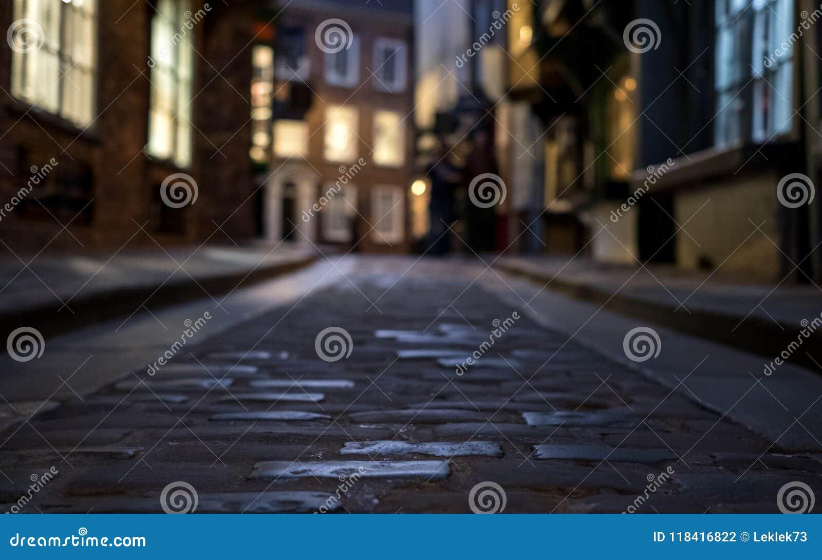 Der heillose Durcheinander, historische Straße von Metzgerei zurückgehend hinsichtlich der mittelalterlichen Zeiten Eine jetzt vo