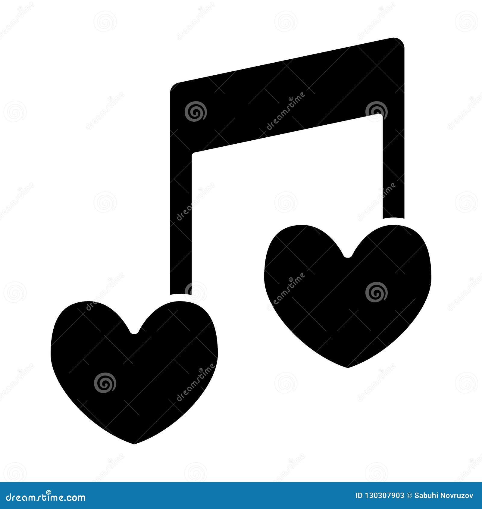 Der Herzform der musikalischen Anmerkung feste Ikone Liebesliedvektorillustration lokalisiert auf Weiß Romantischer Melodie Glyph