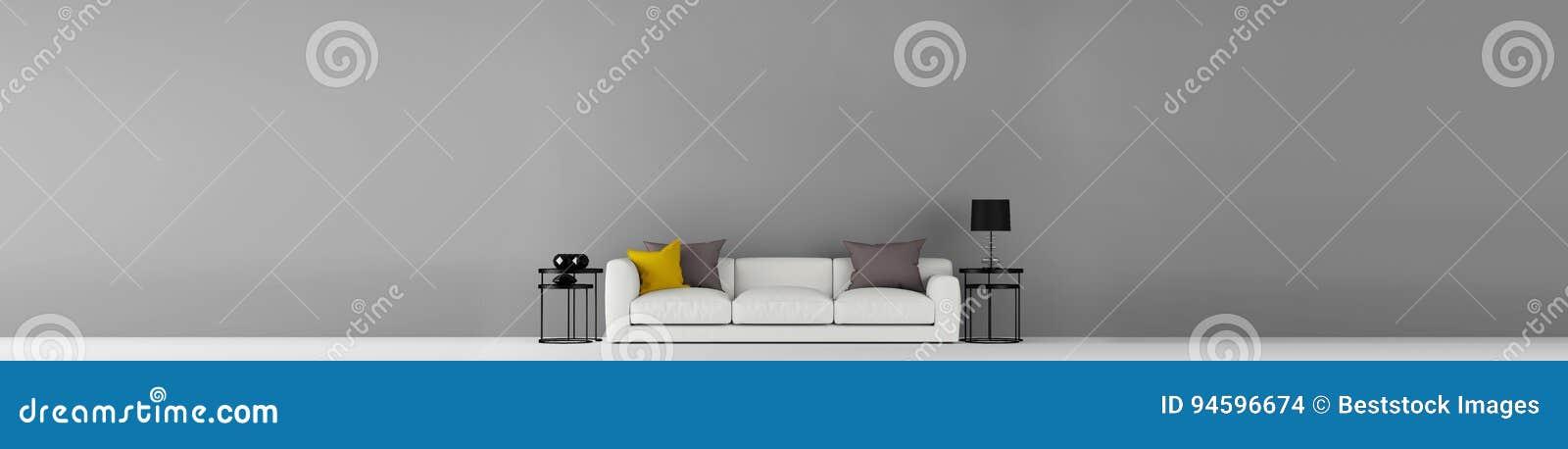 Der hohen Auflösung graue leere Wand weit mit Illustration der Möbel 3d