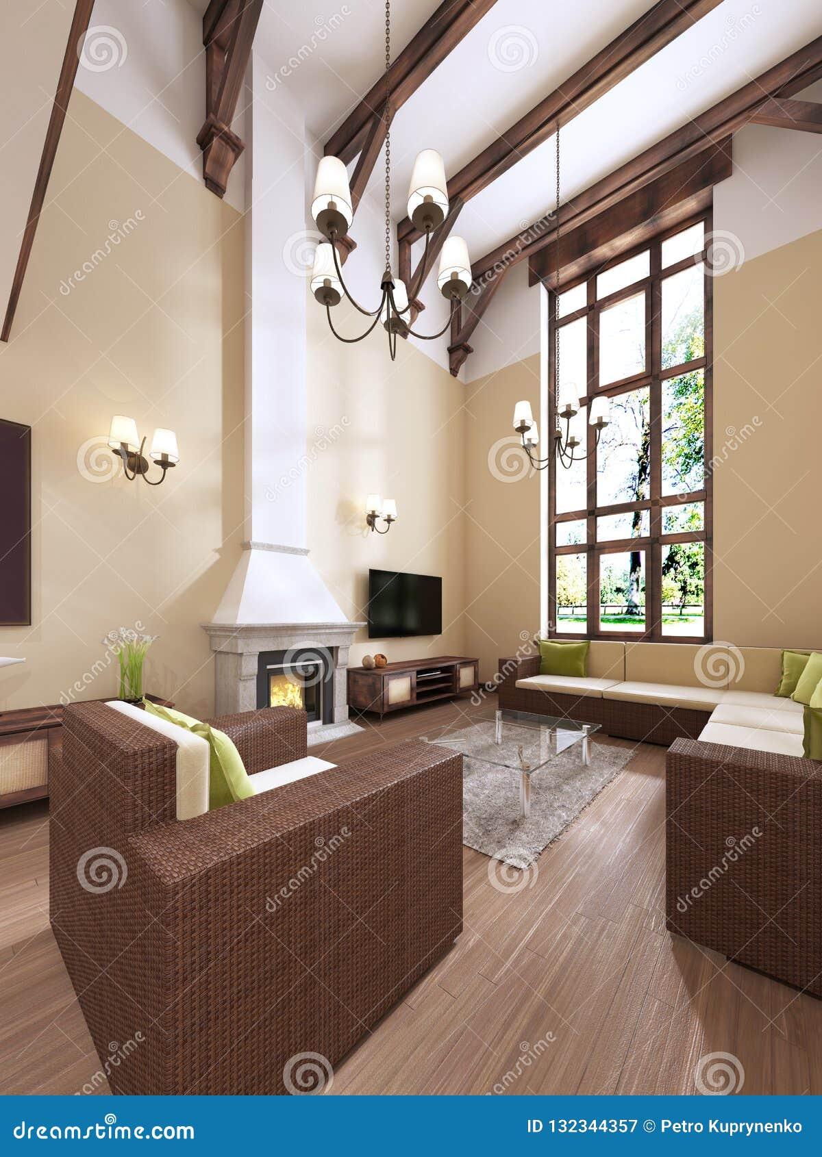 Der Innenraum Ist Moderne Englische Art Mit Einem Kamin Hohe