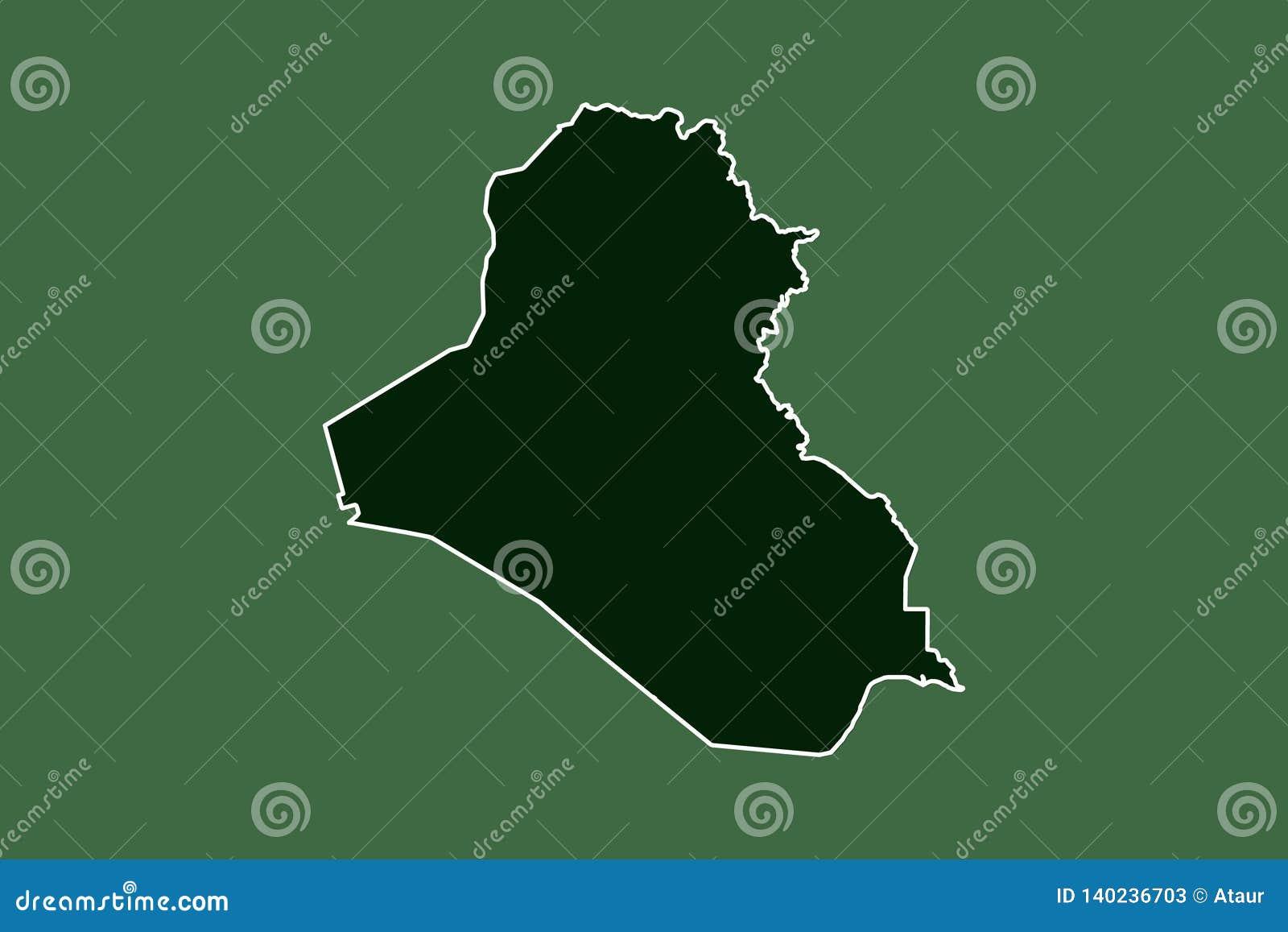 Der Irak-Vektorkarte mit einzelner Grenze Grenze unter Verwendung des grüne Farbbereichs auf dunkler Hintergrundillustration