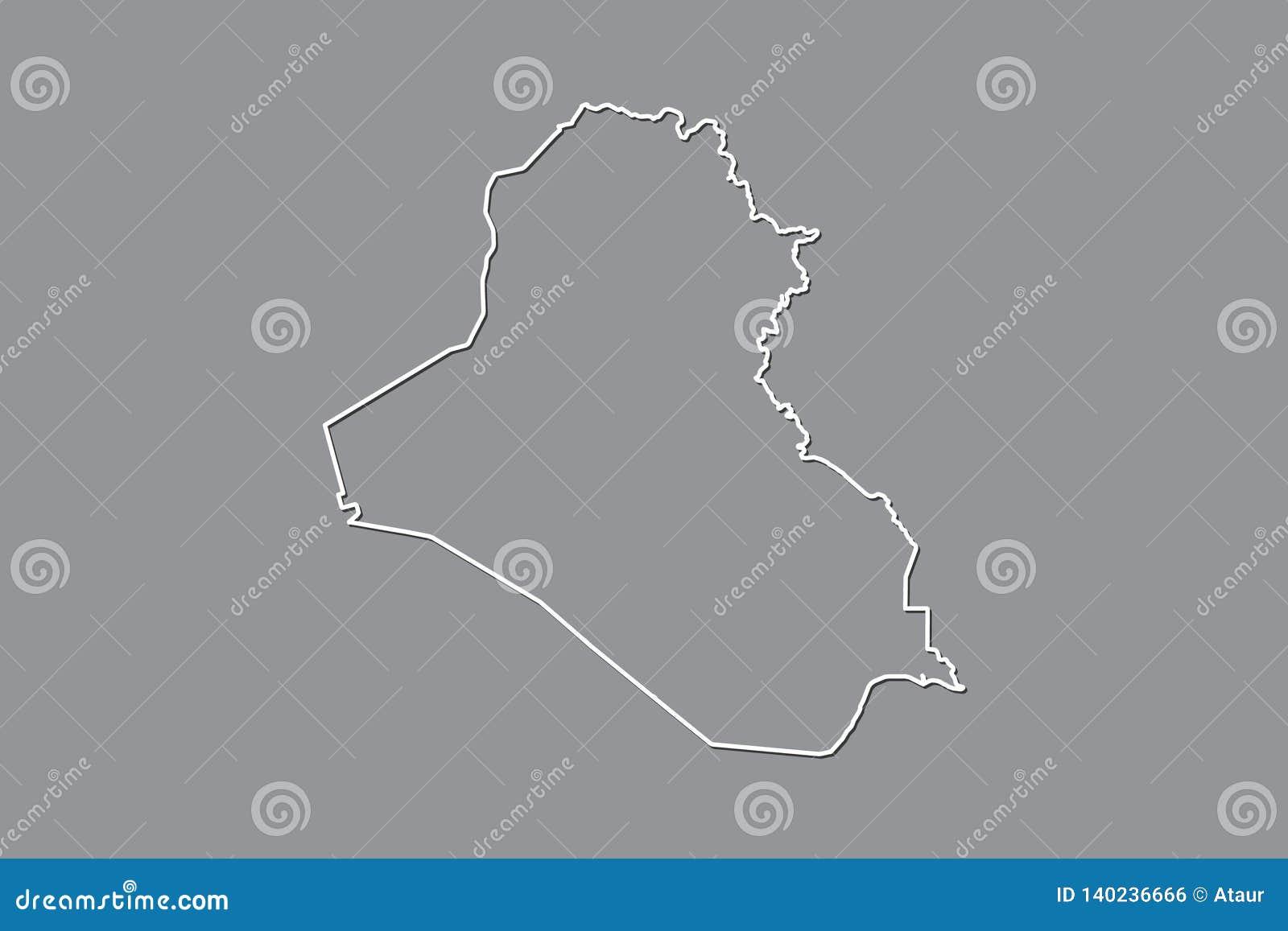 Der Irak-Vektorkarte mit einzelner Grenze Grenze unter Verwendung der weißen Farbe auf dunkler Hintergrundillustration
