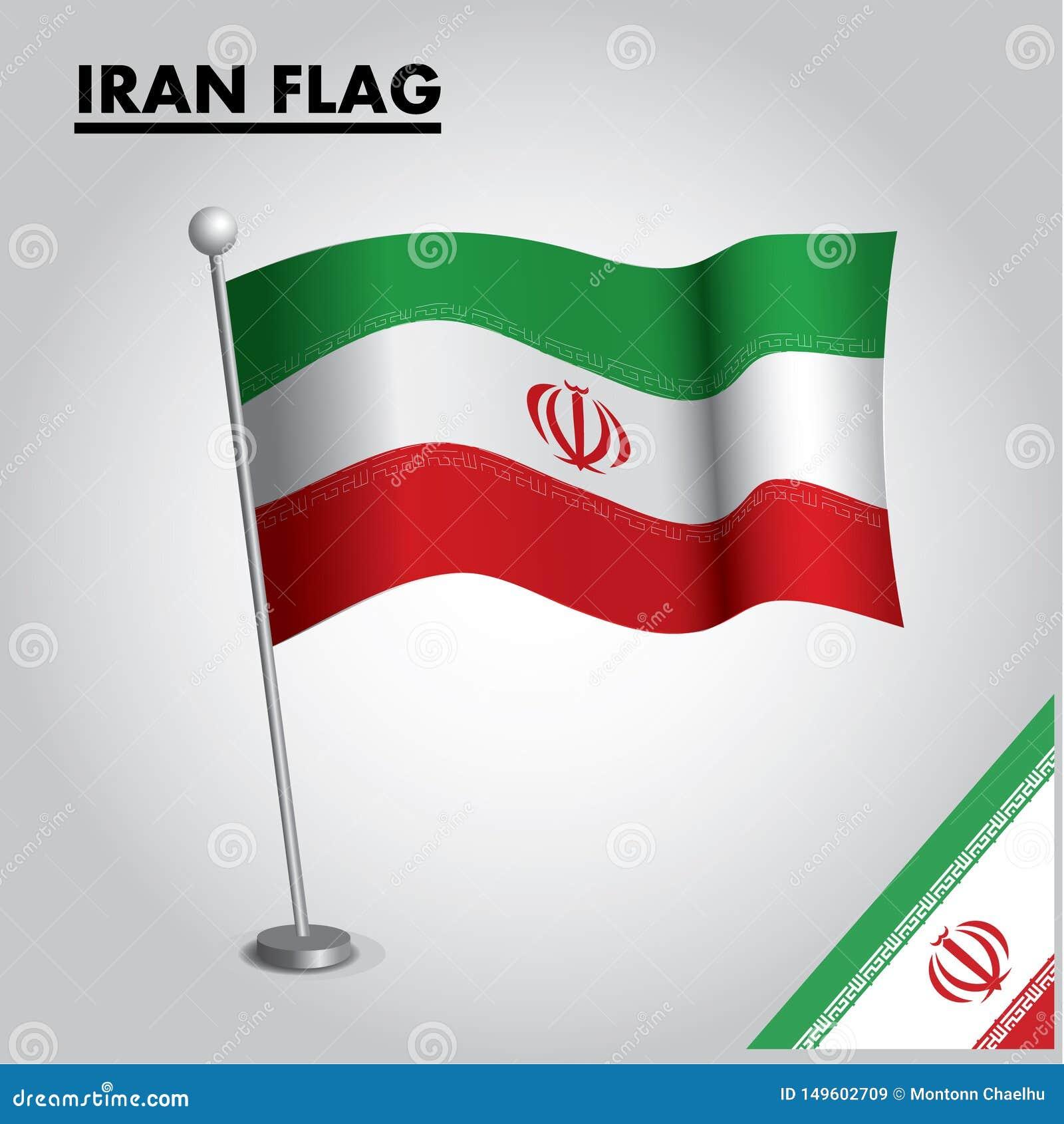Der IRAN-Flagge Staatsflagge vom IRAN auf einem Pfosten