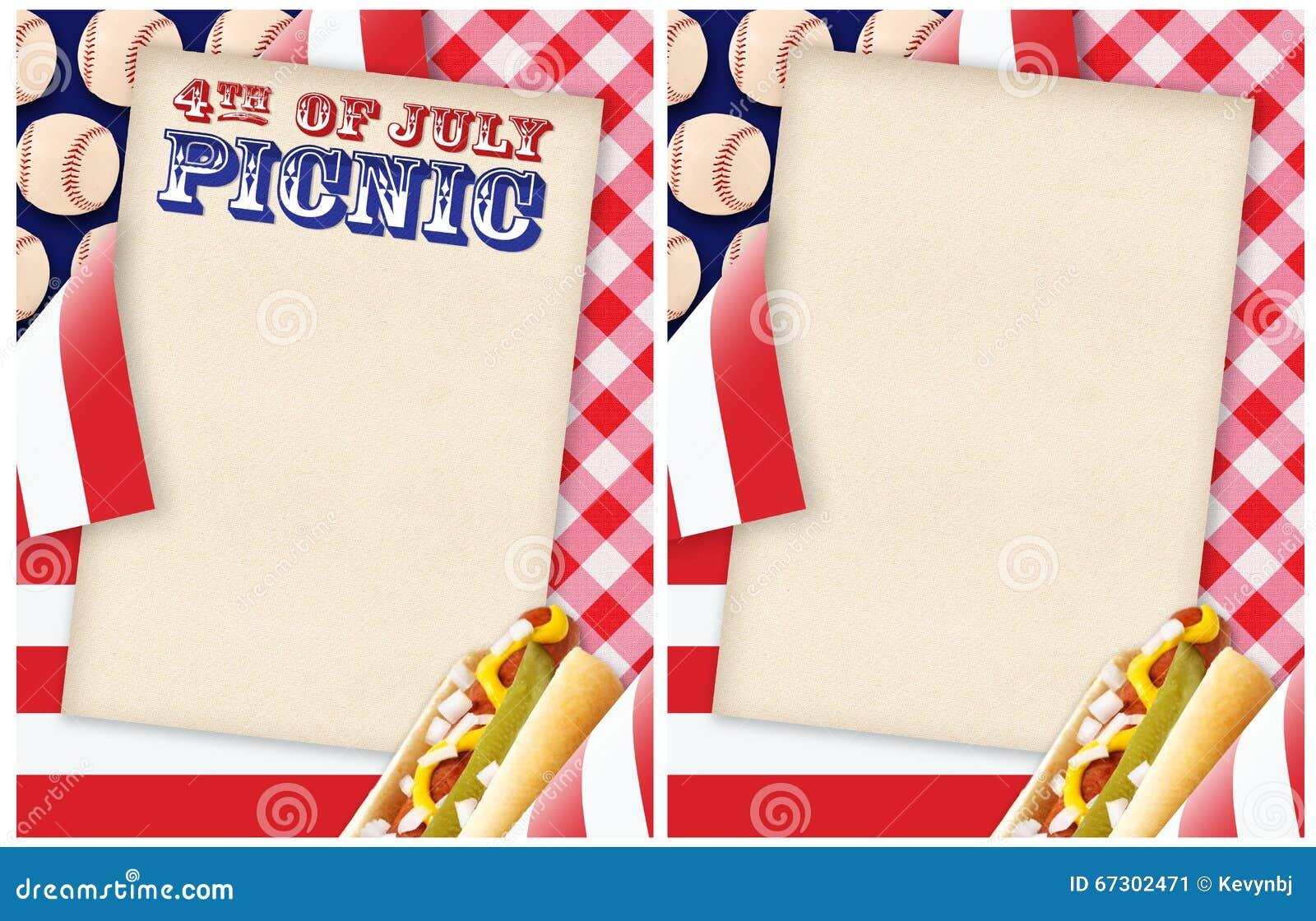 4. der juli-picknick-einladung stockfoto - bild: 67302471, Einladung
