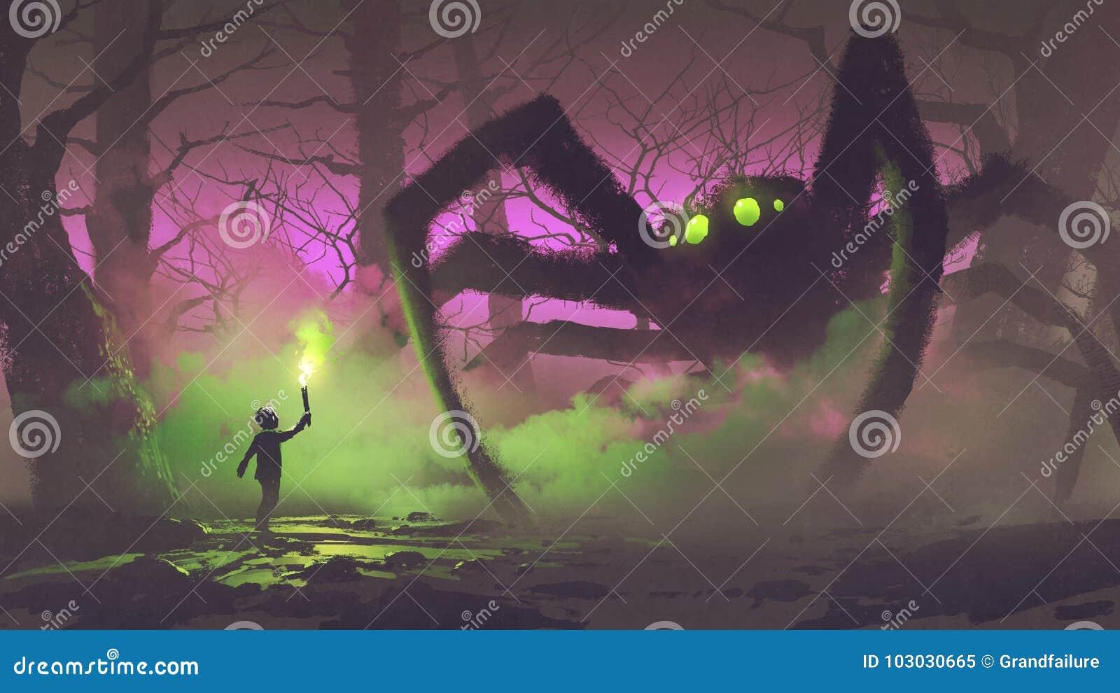 Der Junge mit einer Fackel, die riesige Spinne gegenüberstellt