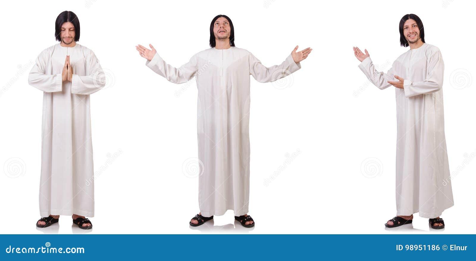 Der junge Priester mit der Bibel lokalisiert auf Weiß
