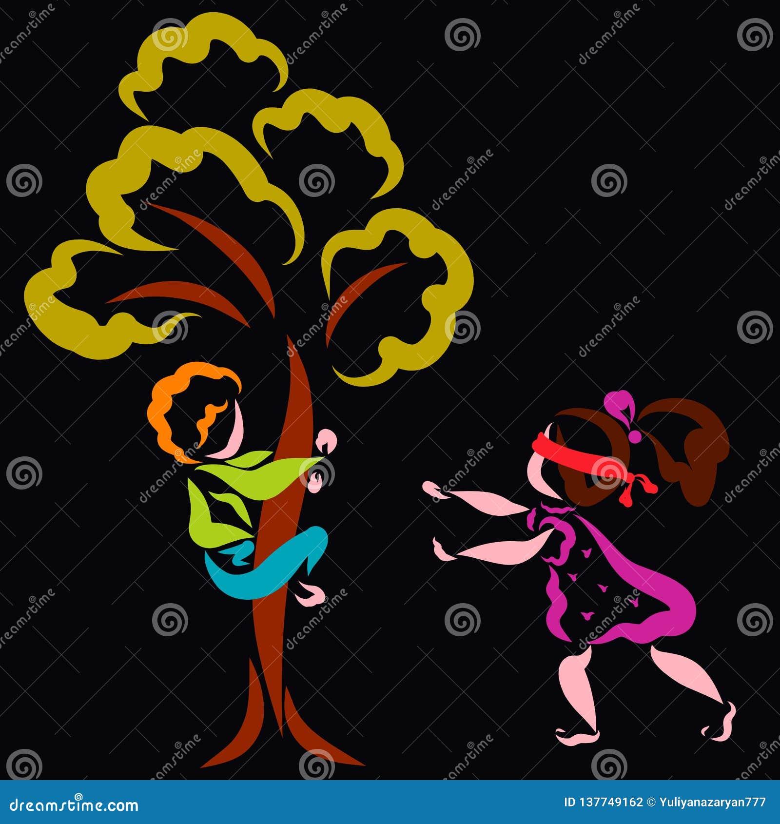 Der Junge versteckt sich in einem Baum, und das Mädchen sucht ihn, Verstecken