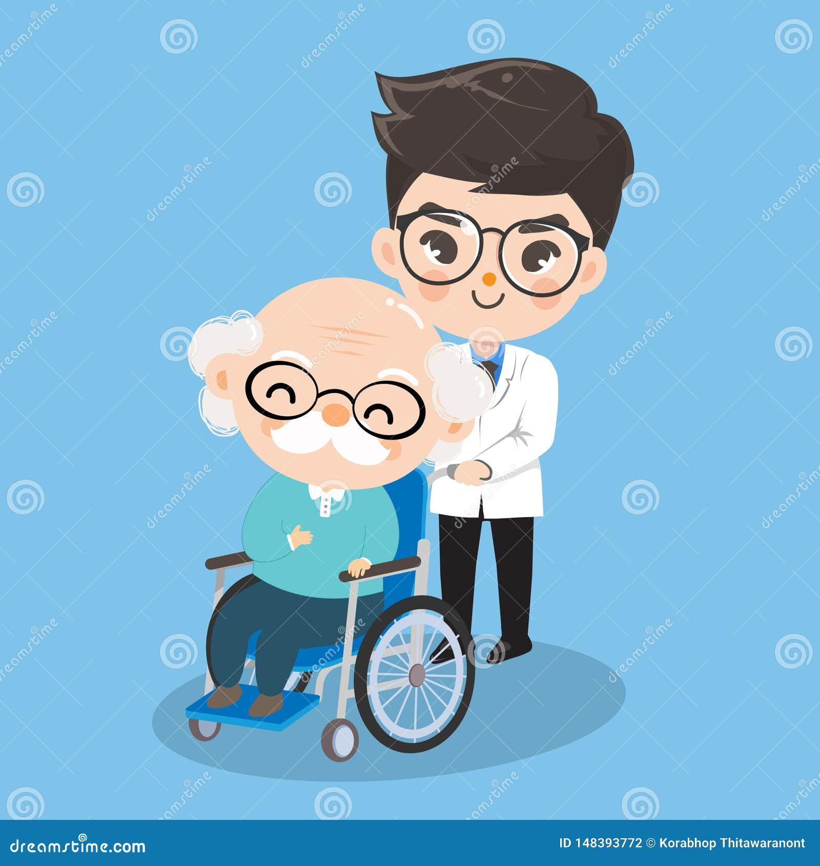 Der Jungendoktor kümmert sich um Patienten des alten Mannes mit Rollstühlen