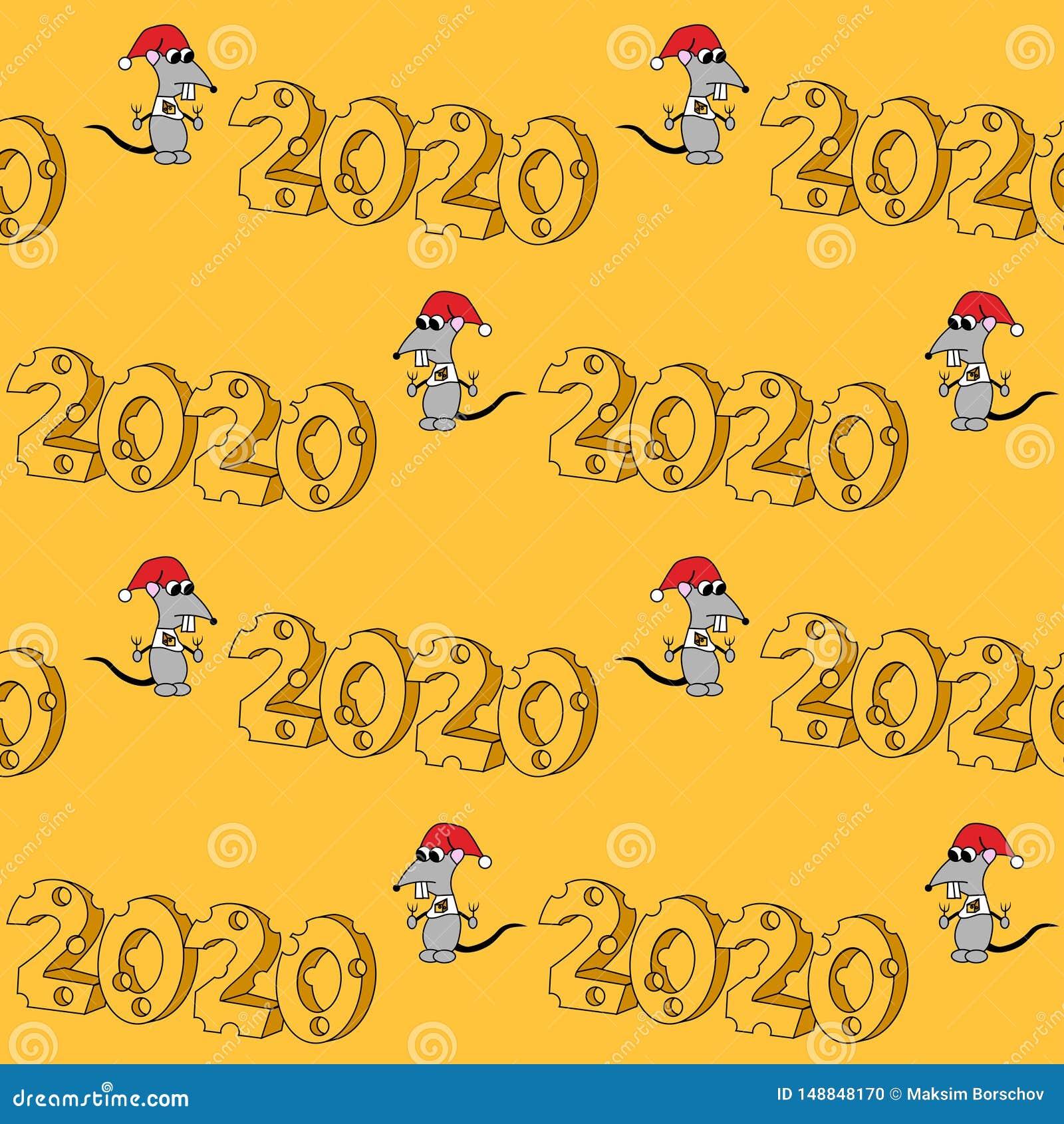 2020 in der K?seform mit hungrigem Charakter Jahr der Ratte Nahtloses vektormuster