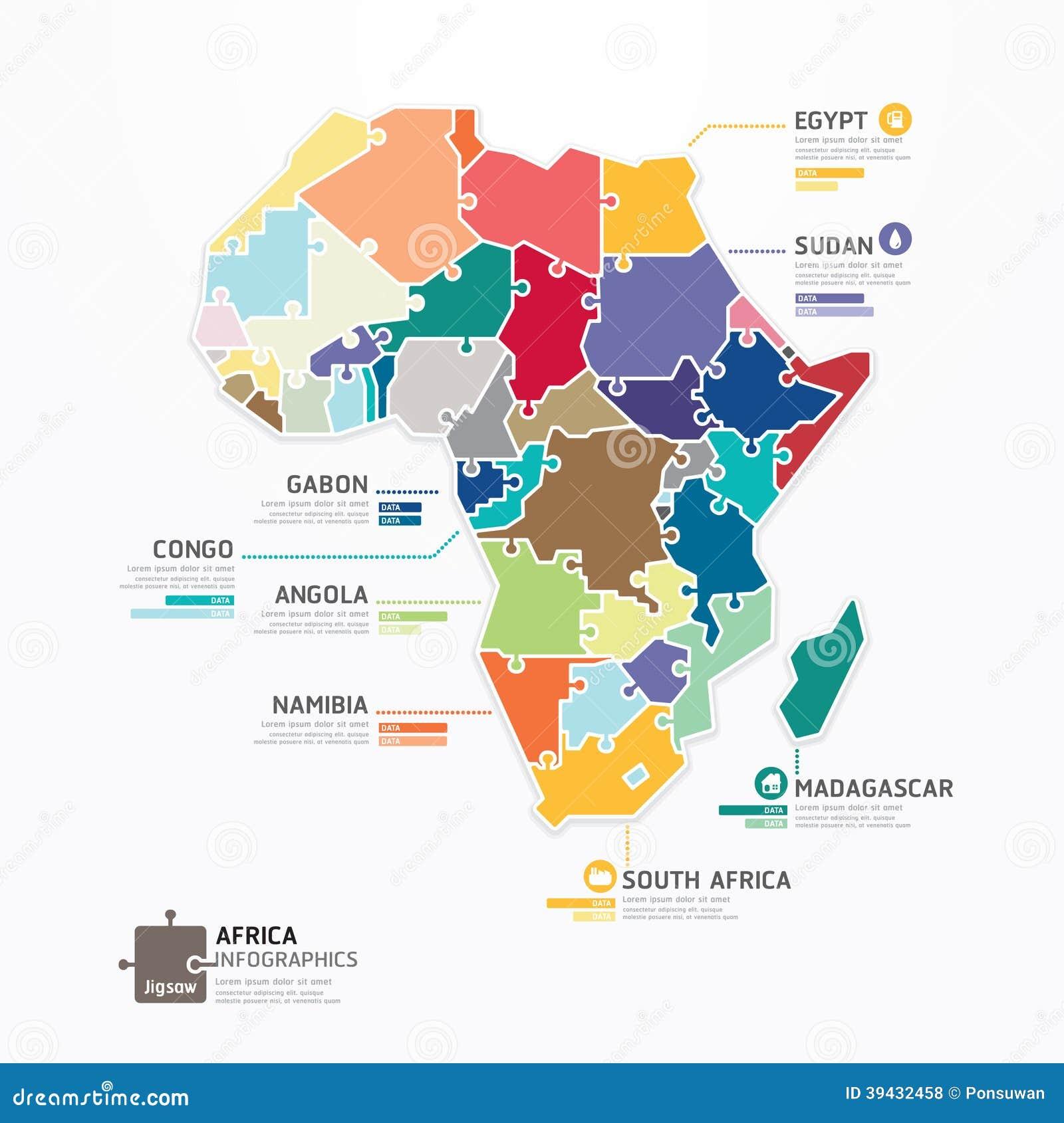 Der Karten-Schablone Afrikas Infographic Zackige Konzeptfahne ...