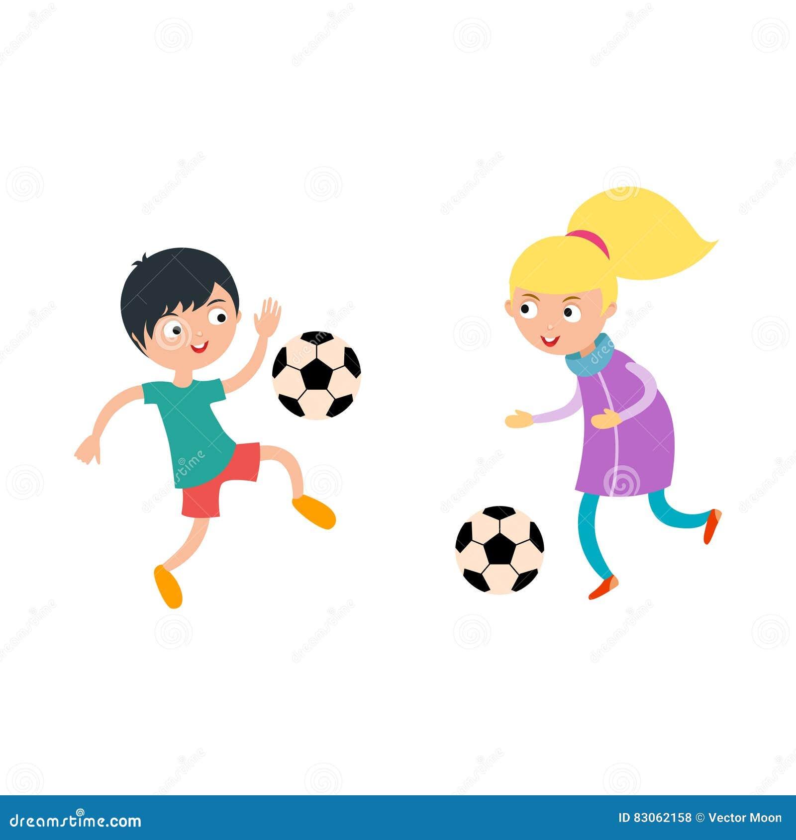 Der Kleinkindjunge Und Madchen Die Fussball Spielen Vector