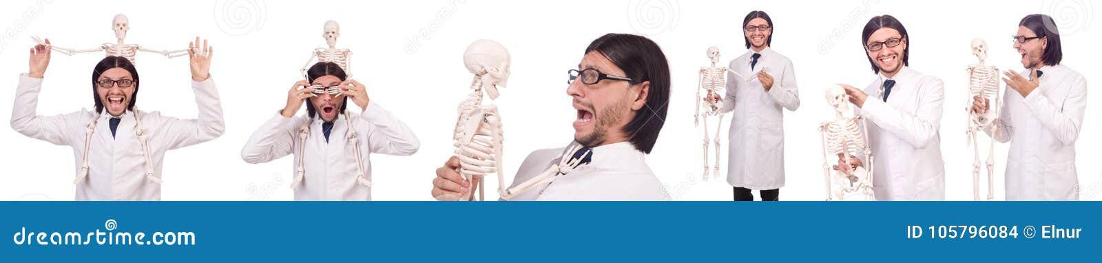 Der Lustige Lehrer Mit Dem Skelett Lokalisiert Auf Weiss Stockfoto