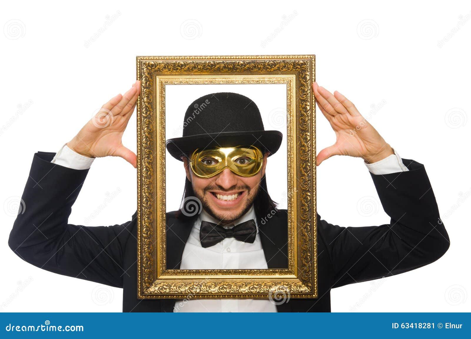 Der Lustige Mann Mit Bilderrahmen Auf Weiß Stockbild - Bild von ...
