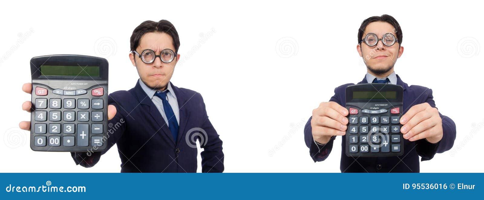 Der lustige Mann mit dem Taschenrechner lokalisiert auf Weiß