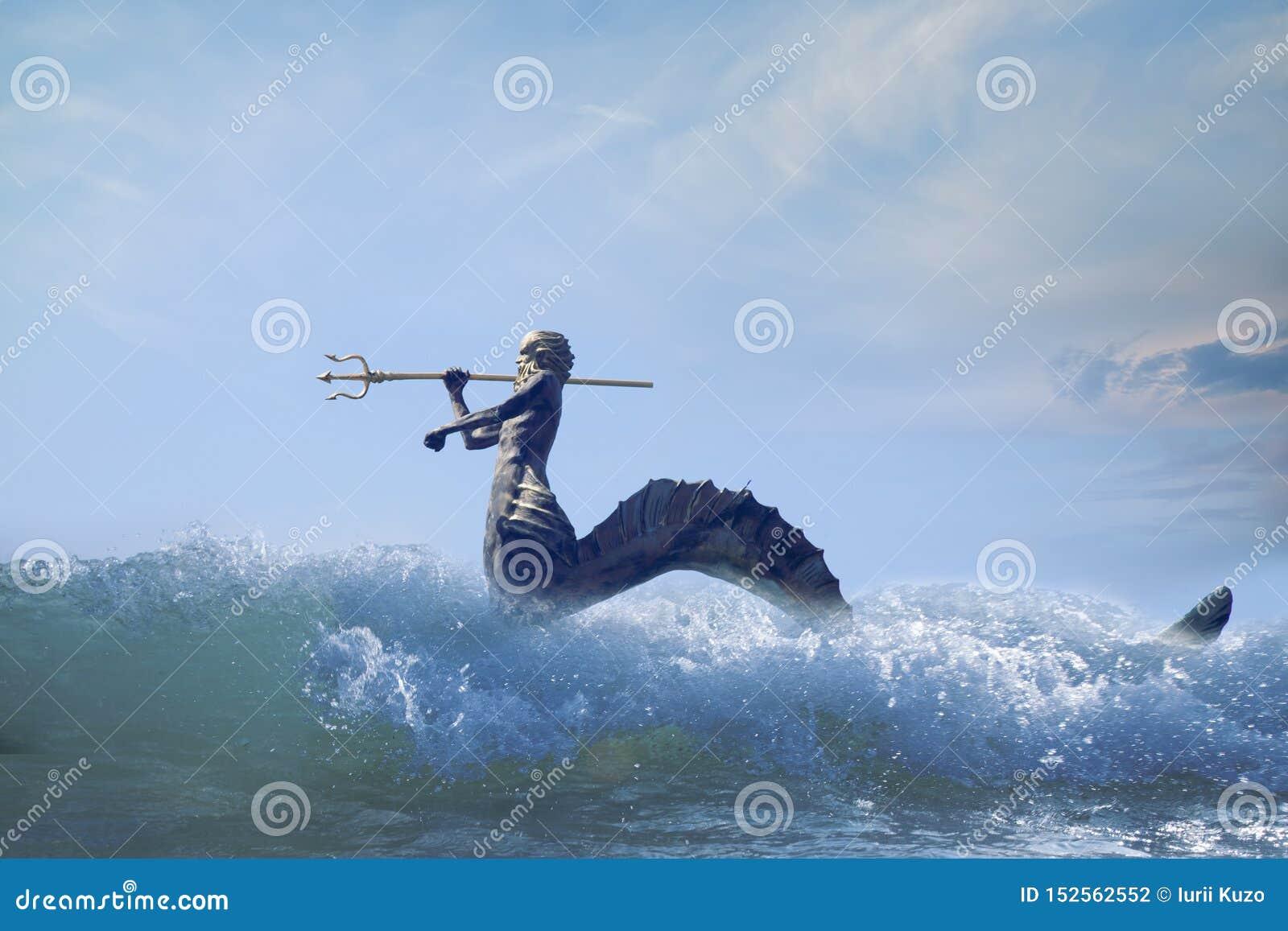 Der mächtige Gott des Meeres und der Ozeane Neptun Poseidon, Triton