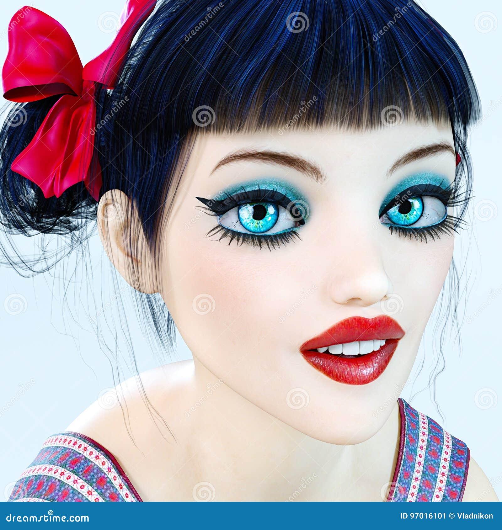 Der Mädchenpuppe Des Porträts 3d Große Blaue Augen Und Helles Make