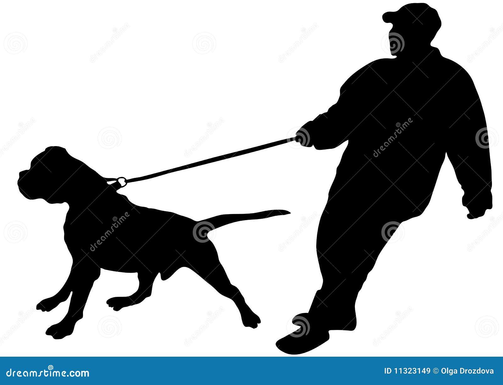 Der Mann hält gerade seinen großen Hund