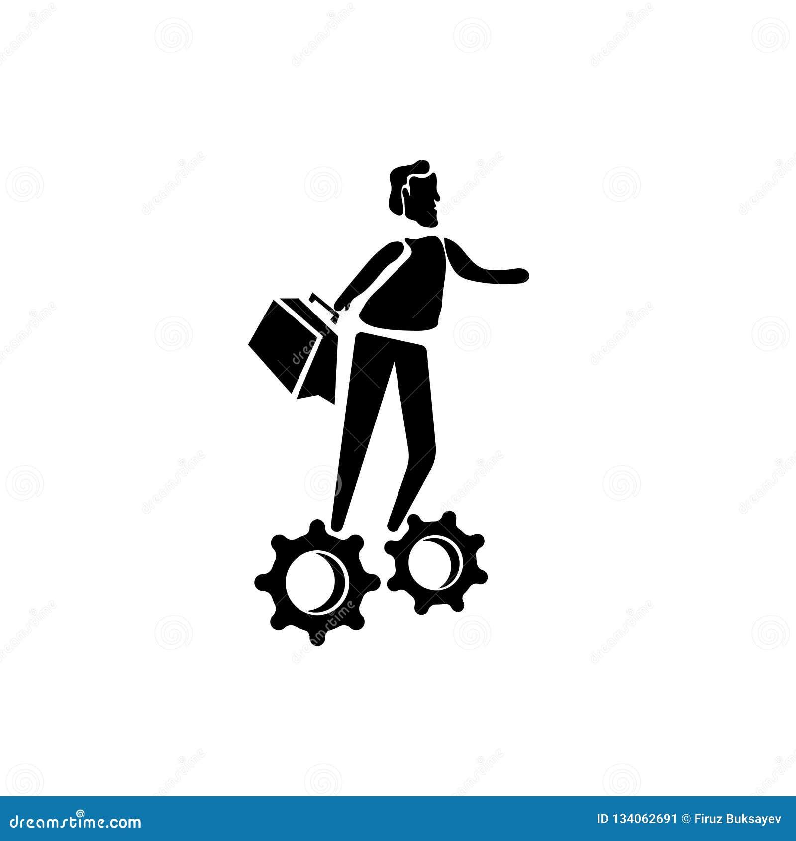 Der Mann mit Lösungsikonenvektor lokalisiert auf weißem Hintergrund, Mann mit Lösungen unterzeichnen, Geschäftsillustrationen