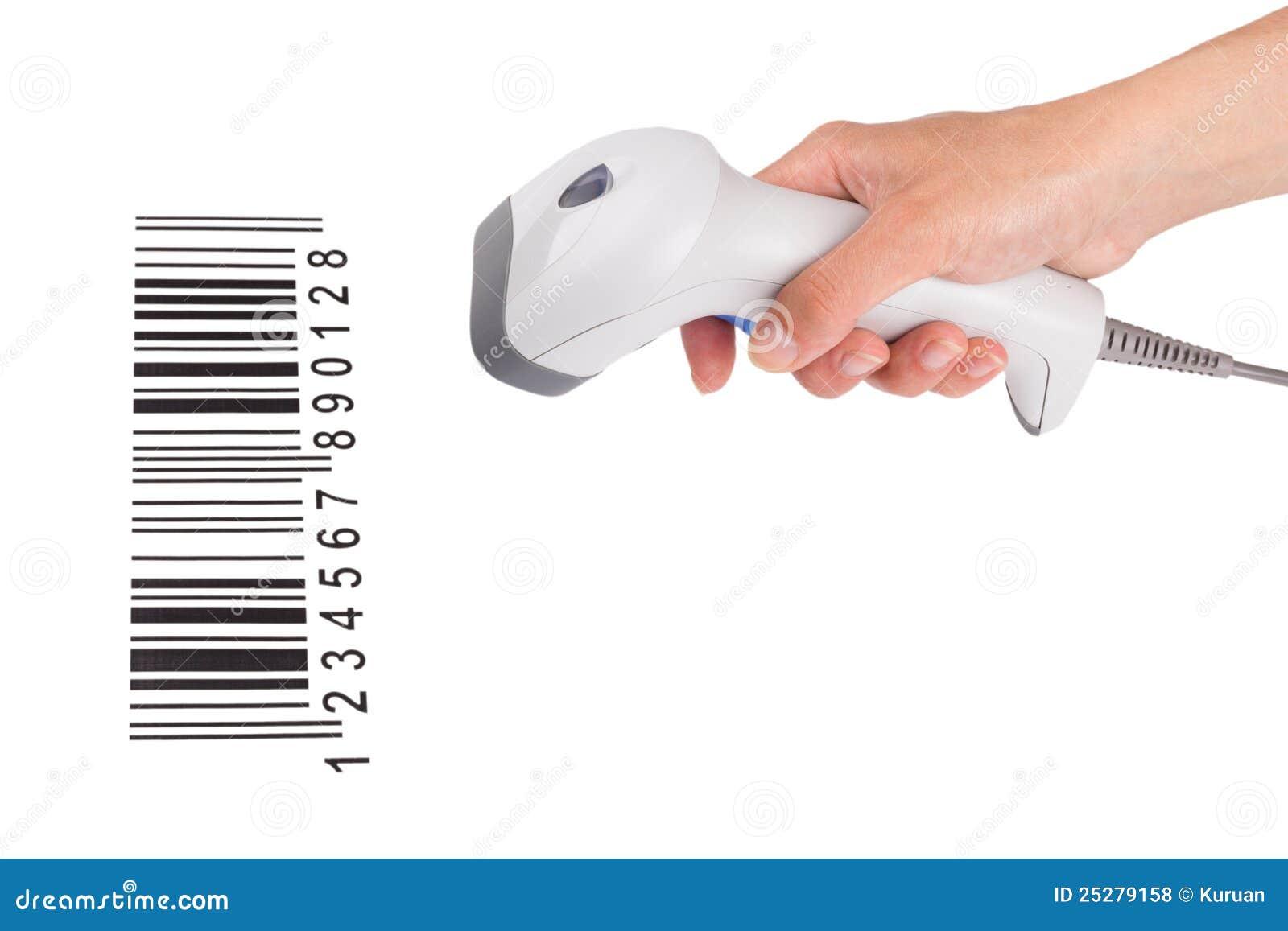 Der manuelle Scanner des Strichkodes in einer weiblichen Hand