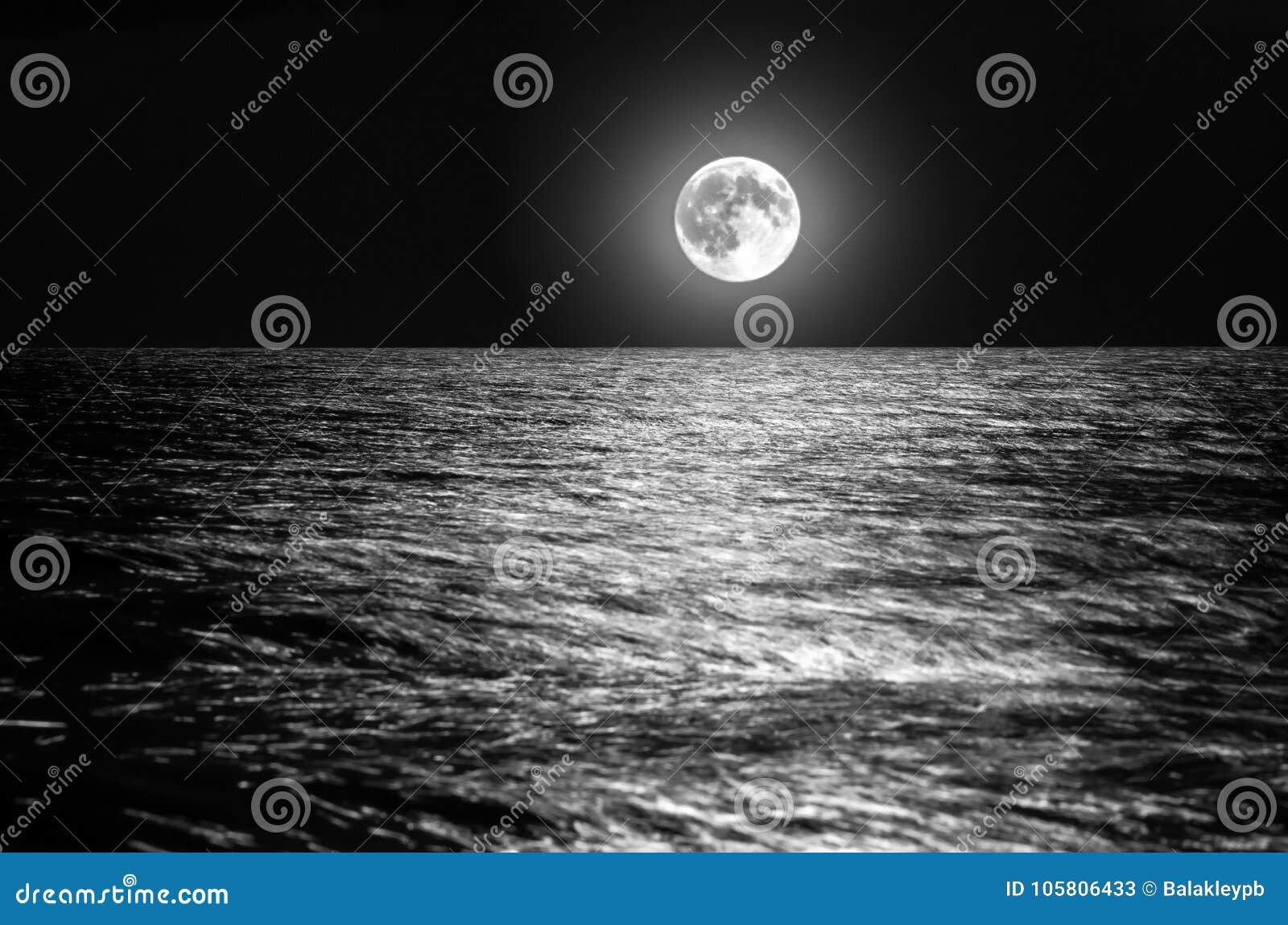 Der Mond über Dem Seehorizont Nachts Mondschein Auf Den Wellen