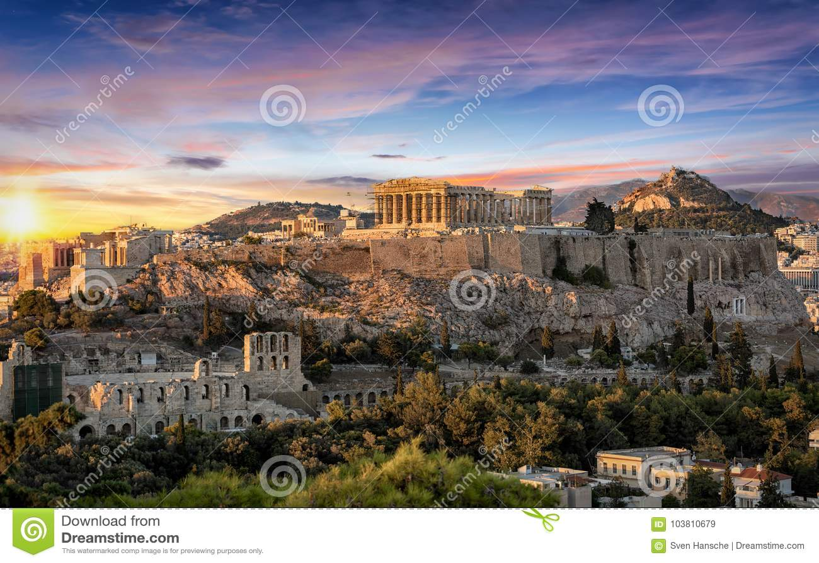 Der Parthenon-Tempel an der Akropolise von Athen, Griechenland