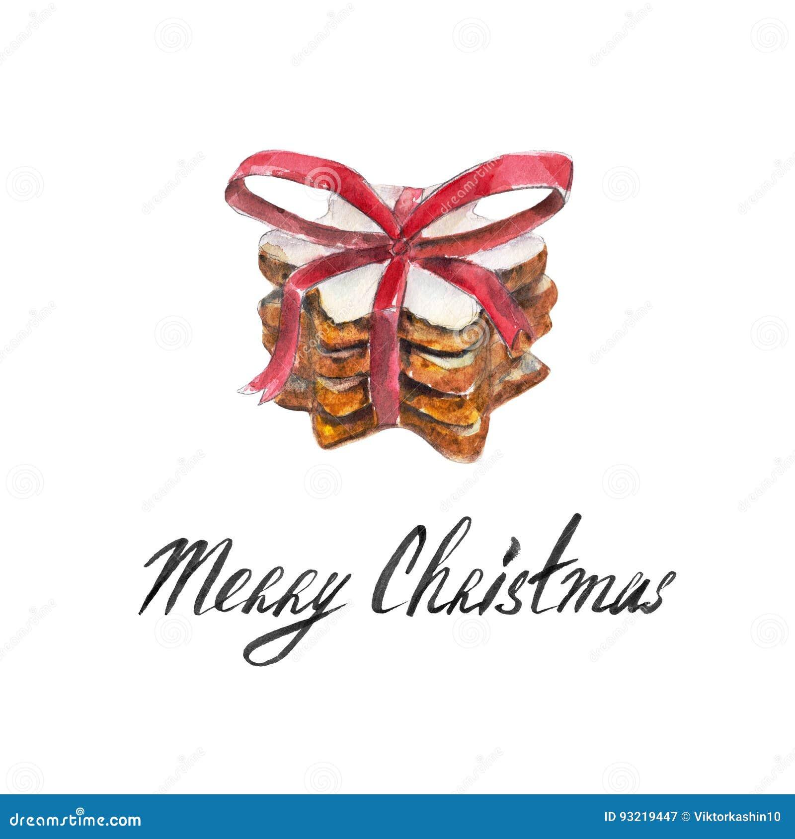 Frohe Weihnachten Band.Der Plätzchenstapel Mit Rotem Band Bogen Lokalisiert Auf Weißem
