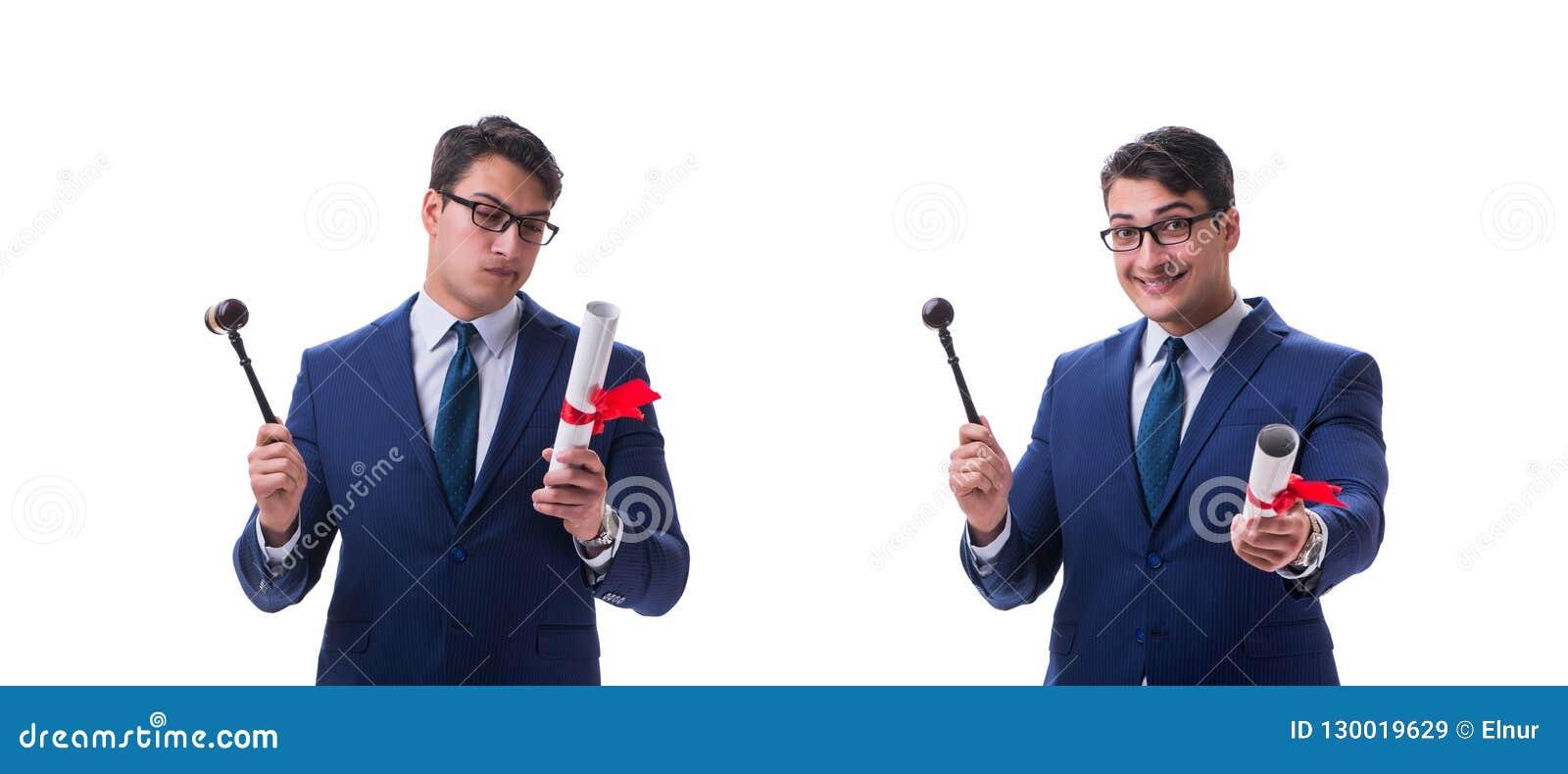 Der Rechtsanwaltjurastudent mit einem Hammer lokalisiert auf weißem Hintergrund