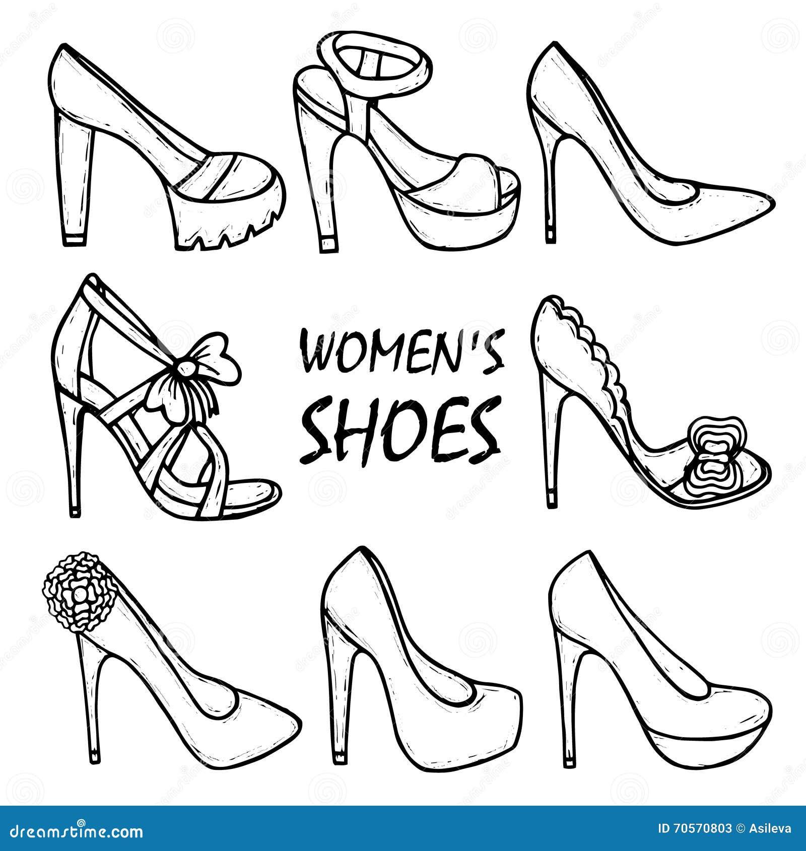 Der Schone Schuhe Des Hohen Absatzes Hand Gezeichneten Frauen