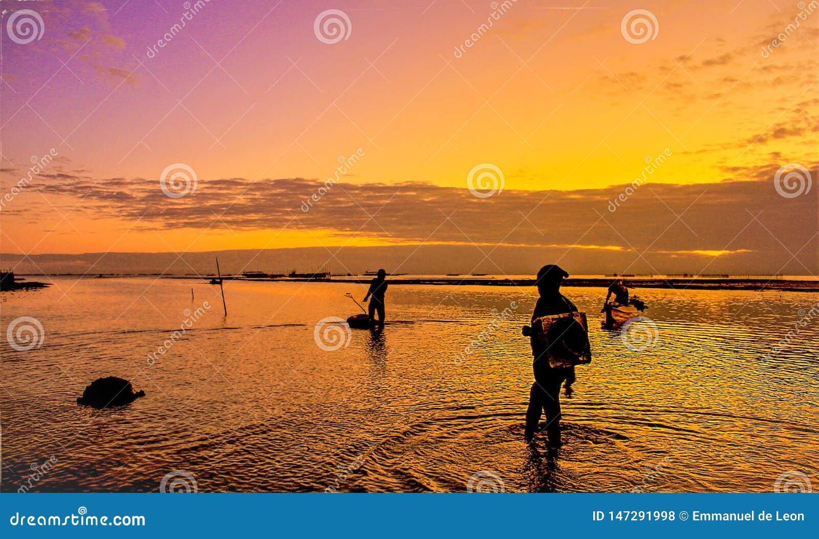 Der schöne Sonnenuntergang mit dem Fischer