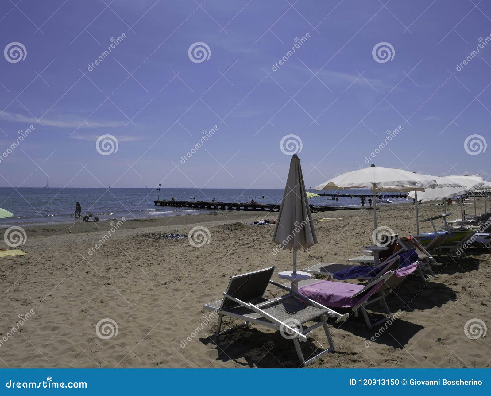 Der Schone Strand Von Jesolo In Venetien Redaktionelles Bild Bild