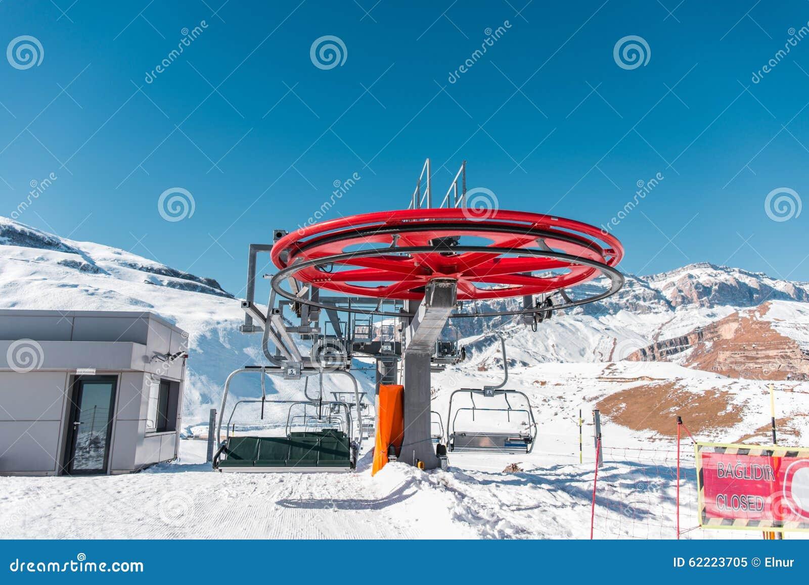Der Skilifte durings helle Wintertag