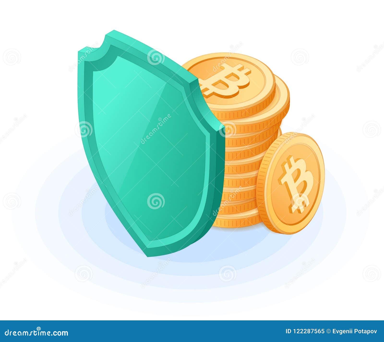 Der Stapel von bitcoins versteckt sich hinter einem Schild