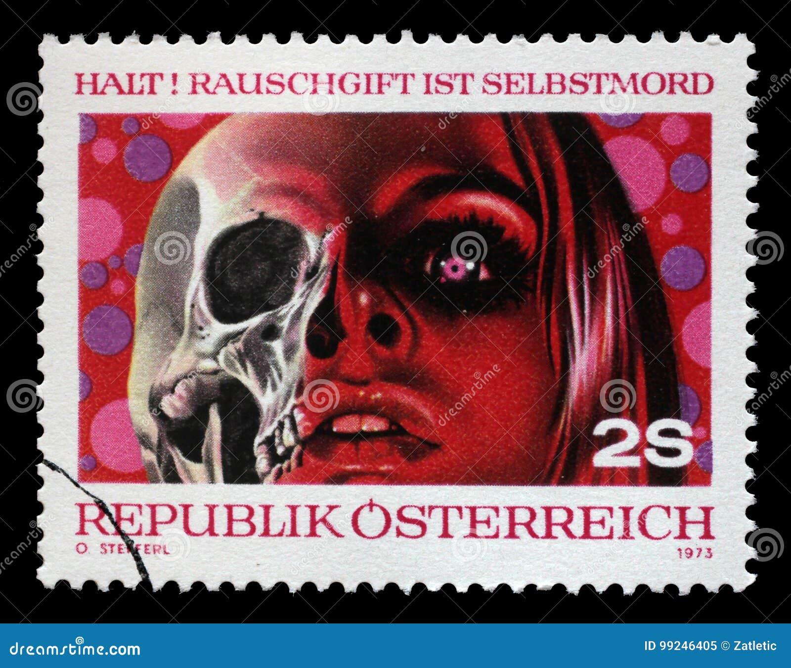 Der Stempel, der durch Österreich, Shows Drogen gedruckt wird, sind Tod