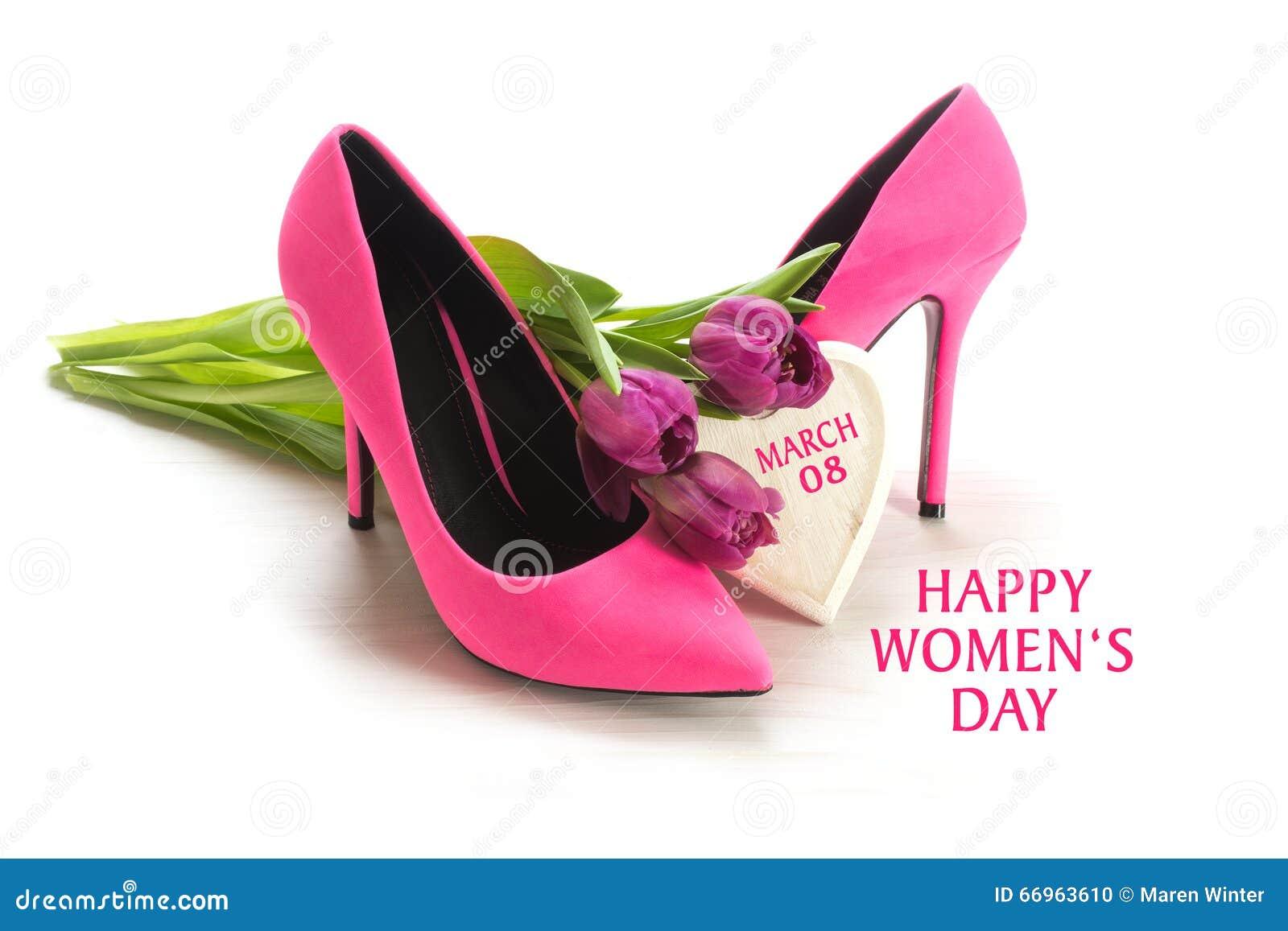 Der Tag der internationalen Frauen am 8. März, zacken Damen Schuhe des hohen Absatzes aus,