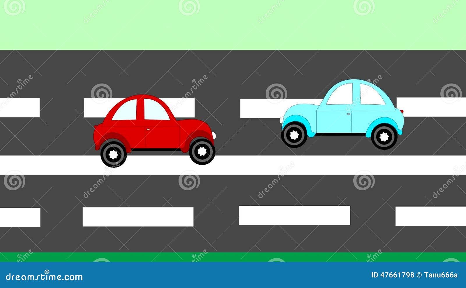 Der Unfall, Autos Des Autounfalls Zwei Auf Der Autobahn, Animation ...