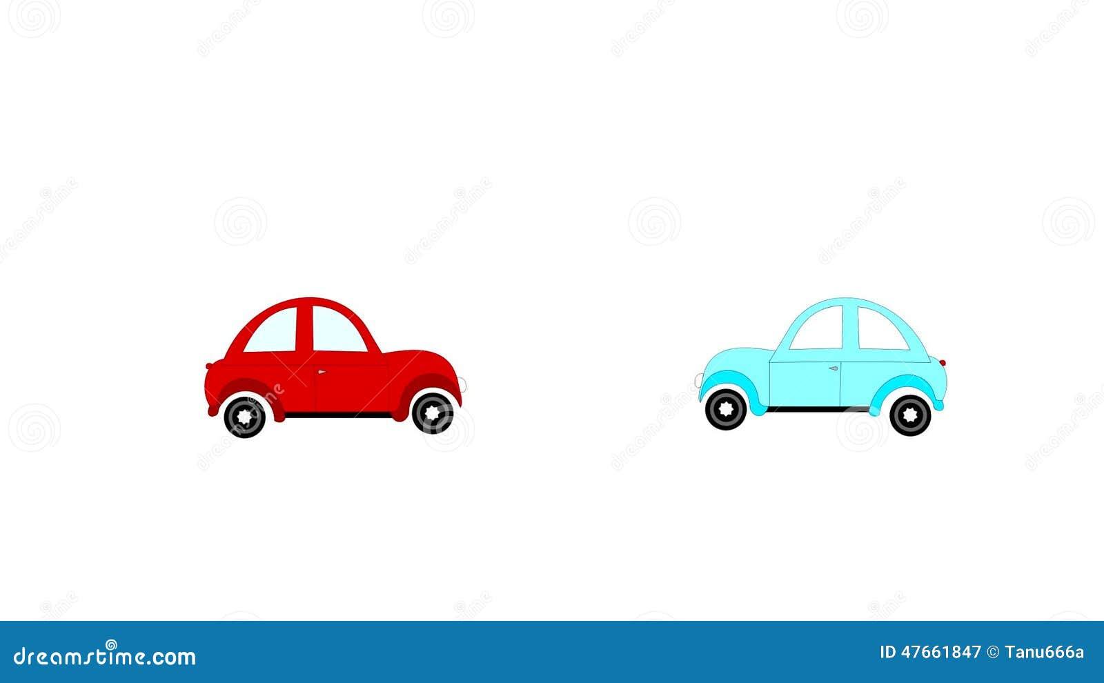 Der Unfall, Autos Des Autounfalls Zwei Auf Einem Weißen Hintergrund ...
