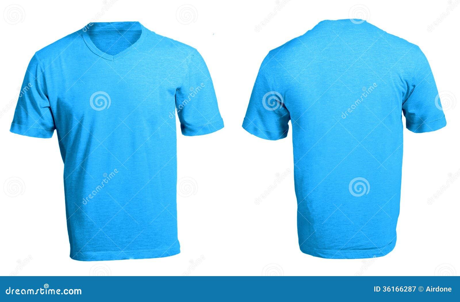 Der V-Ausschnitts-Hemd-Schablone Der Männer Leere Blaue Stockbild ...