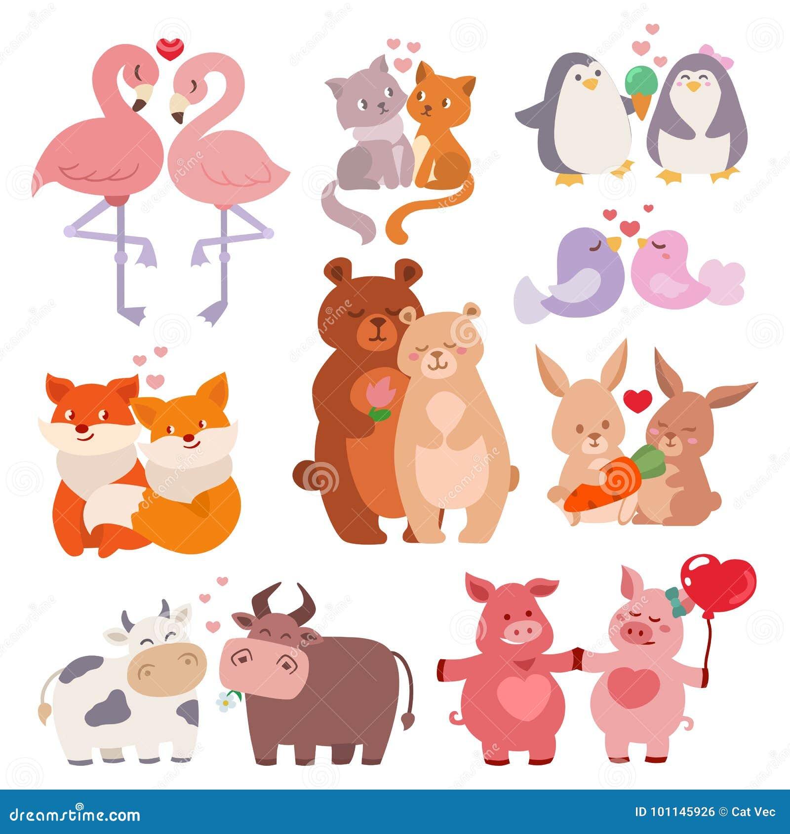 Der Valentinsgrußtagesliebevoller Zeichentrickfilm-Figuren der netten Tierliebespaaresammlung glücklicher der Natur-wild lebenden