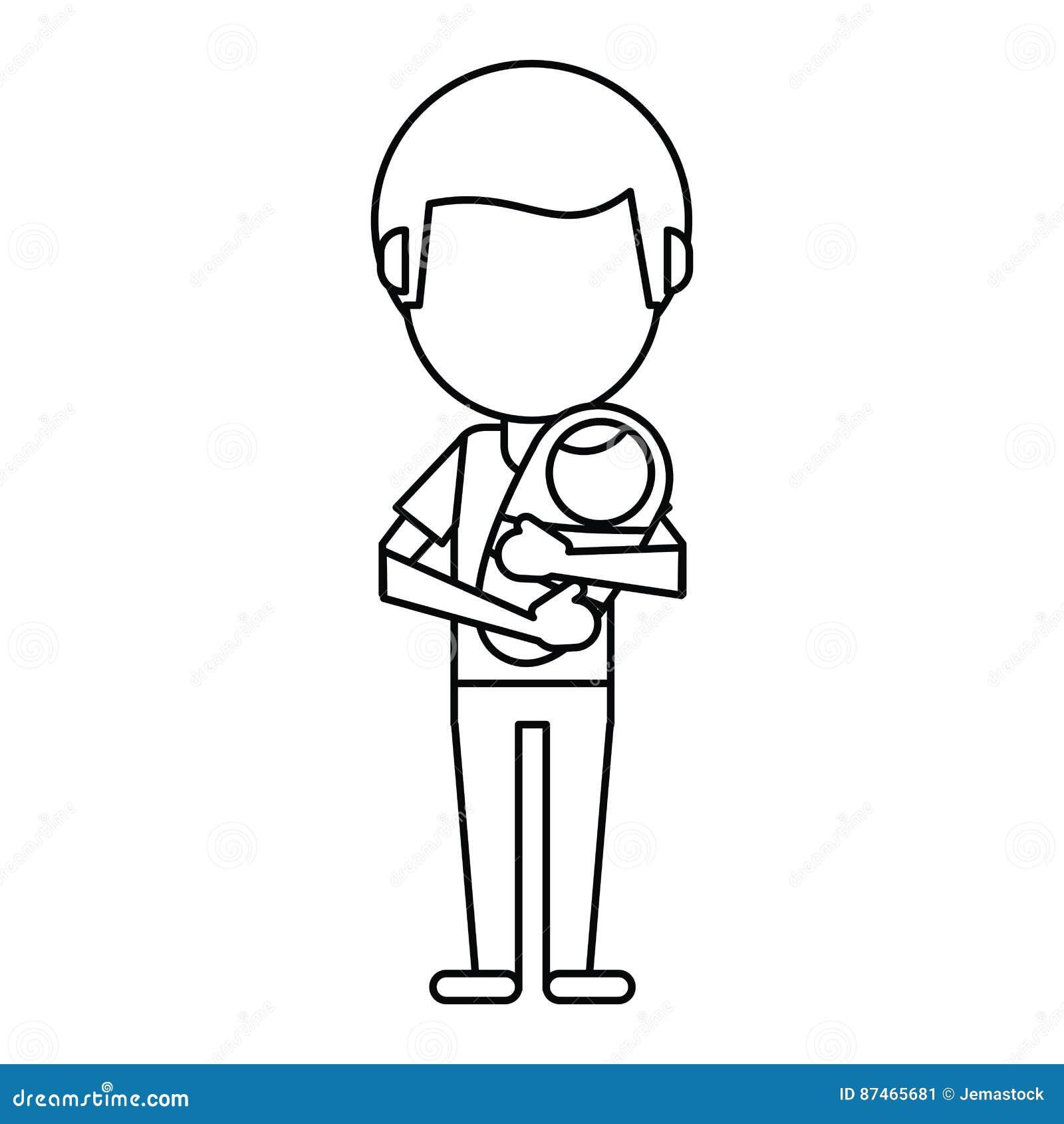 Der Vati, Der Ihr Baby Zeichnen Trägt Dünn Vektor Abbildung ...