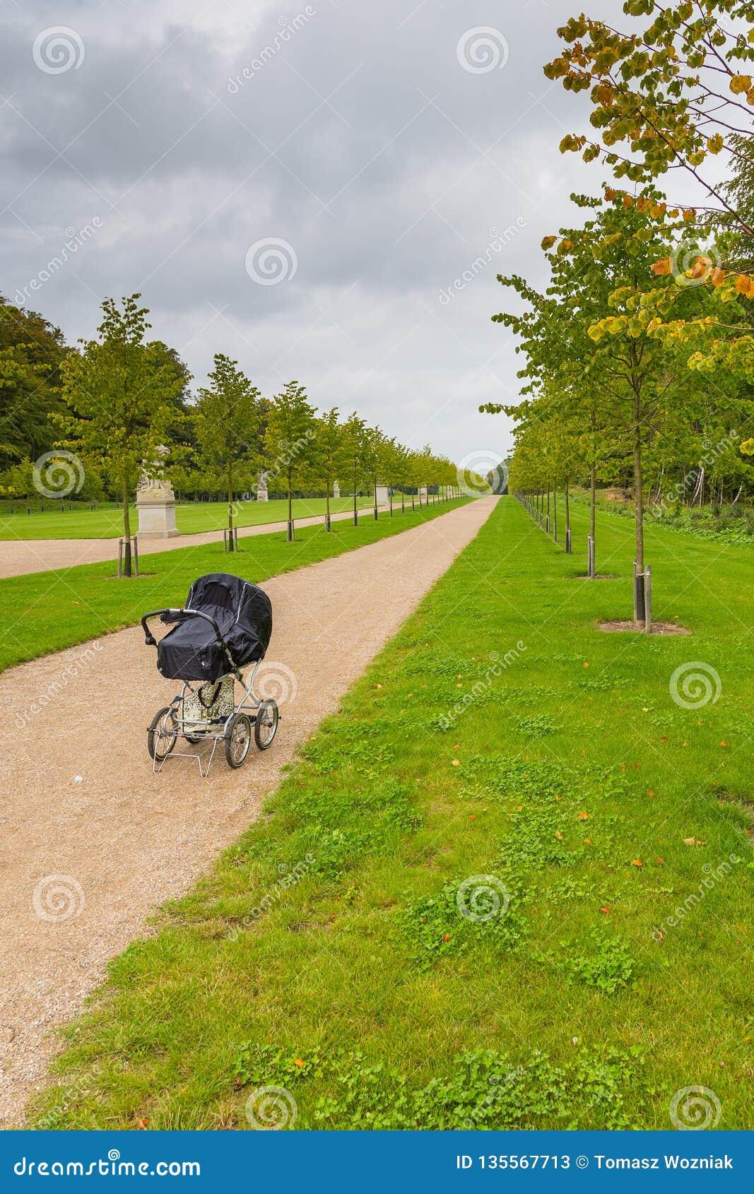 Der Wagen der schwarze Kinder auf der Allee im Palast-Garten, Fredensborg, Dänemark