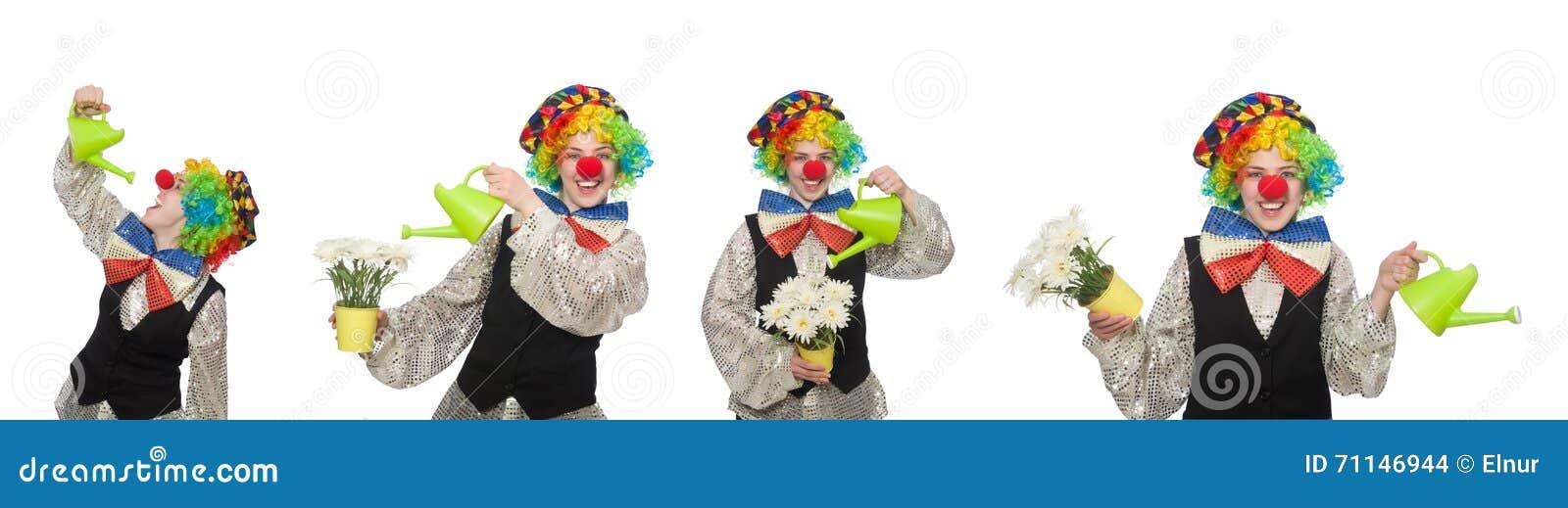 Der weibliche Clown mit Gießkanne