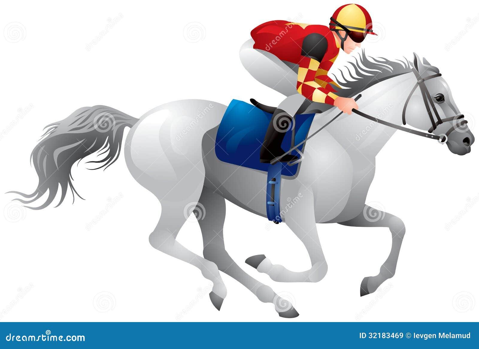 Derby White Horse Stock Vector Illustration Of Jockey 32183469