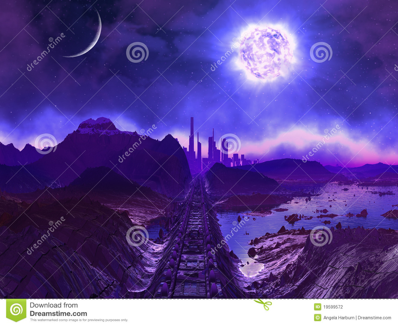 Download Derelict Railway Track To Alien City Ruins Stock Illustration - Illustration of atmosphere, rock: 19599572