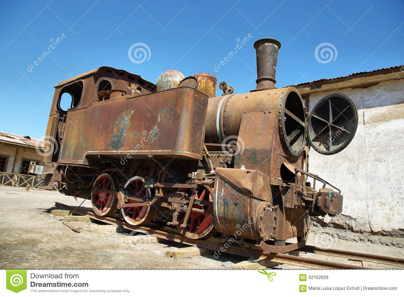 Derelict and rusting steam train in Humberstone, Chile