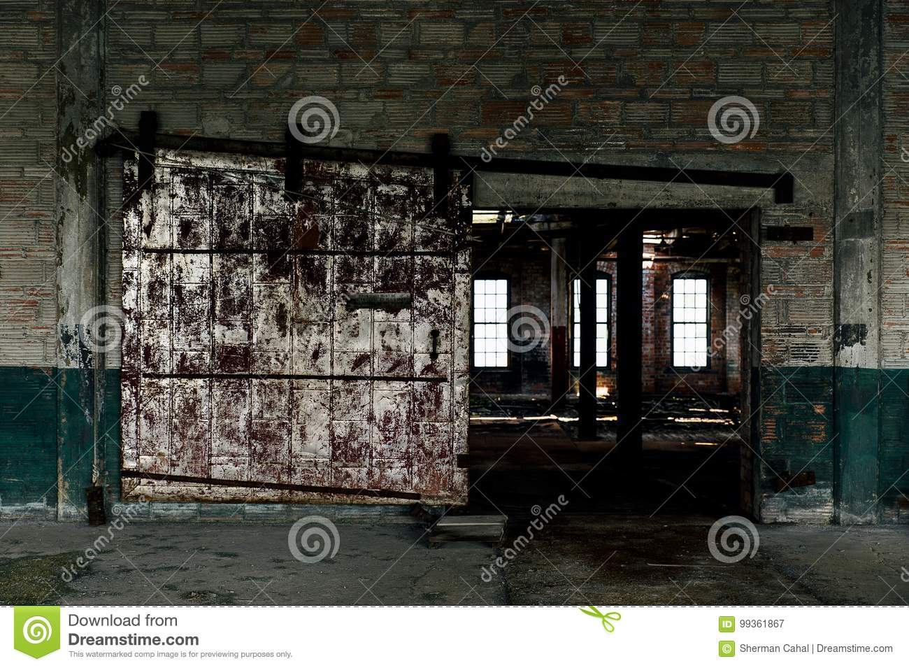 Derelict Sliding Fire Door Abandoned Glass Factory Stock Image