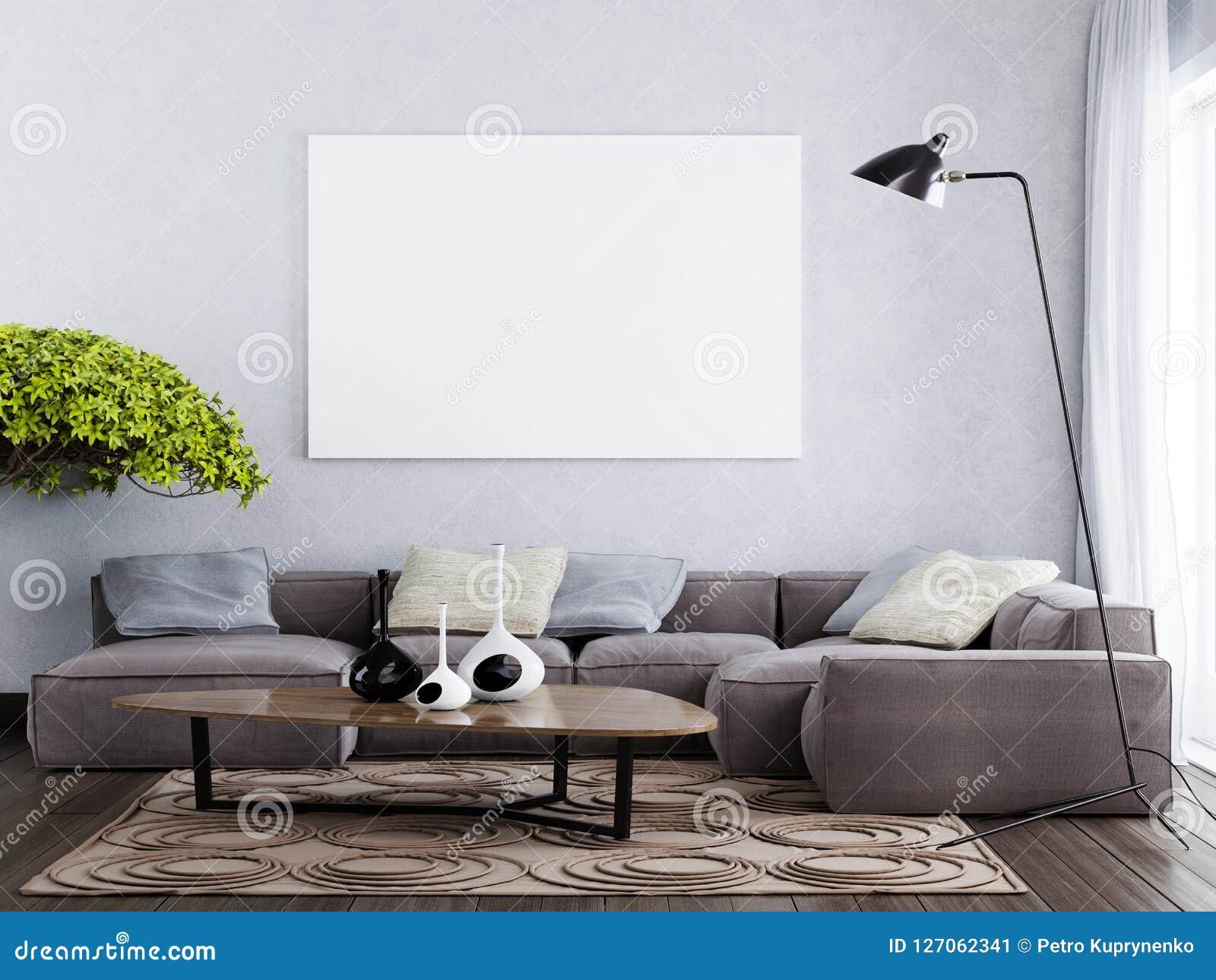 Derida sul manifesto in bianco sullo stile interno contemporaneo della parete