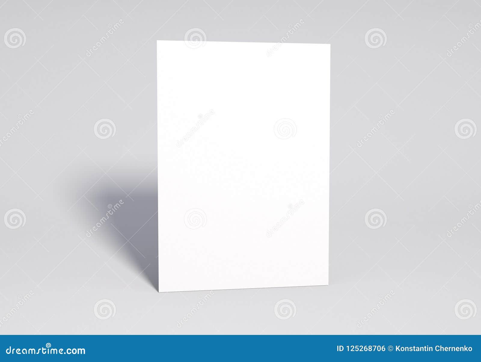 Derisione in bianco della pagina bianca su, rappresentazione 3d